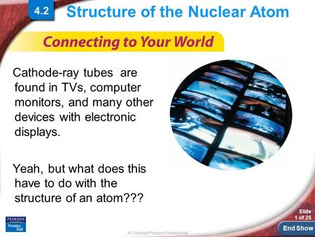 End Show © Copyright Pearson Prentice Hall Slide 1 of 25 Structure of the Nuclear Atom Cathode-ray tubes are found in TVs, computer monitors, and many.