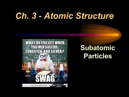 Ch. 3 - Atomic Structure Subatomic Particles. Development of the Atom 1 st Model: Dalton's Theory 1. All matter is made of indivisible atoms. 2. All.
