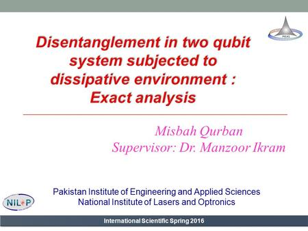 Misbah Qurban Supervisor: Dr. Manzoor Ikram Pakistan Institute of Engineering and Applied Sciences National Institute of Lasers and Optronics International.
