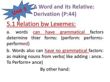 A Word and its Relative: Derivation (P:44)