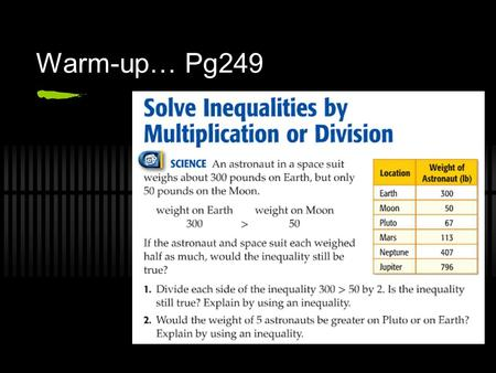 Warm-up… Pg249. Solve Inequalities by Multiplication or Division Chapter 4, Lesson 4C Pages 249-253.