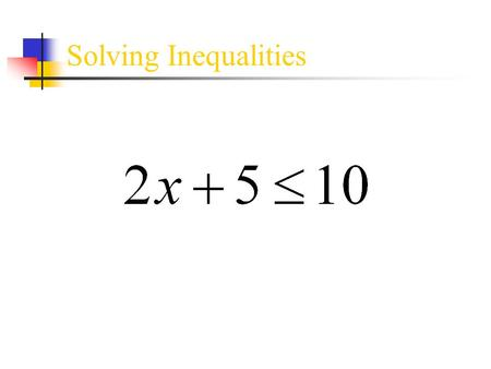 Solving Inequalities. ● Solving inequalities follows the same procedures as solving equations. ● There are a few special things to consider with inequalities: