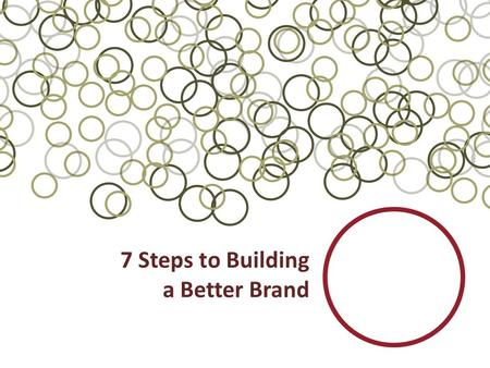 7 Steps to Building a Better Brand. Who are you as a company? This presentation is about defining your company image – Your image represents who you are.