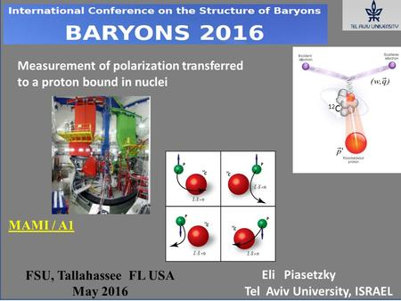 FSU, Tallahassee FL USA May 2016 Eli Piasetzky Tel Aviv University, ISRAEL 12 C Measurement of polarization transferred to a proton bound in nuclei MAMI.