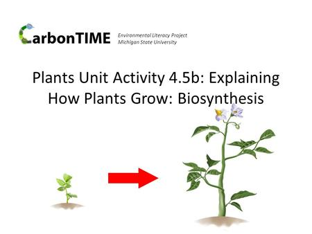 Plants Unit Activity 4.5b: Explaining How Plants Grow: Biosynthesis Environmental Literacy Project Michigan State University.