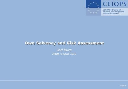 Page 1 Own Solvency and Risk Assessment Jarl Kure Malta 9 April 2010.