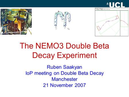 The NEMO3 Double Beta Decay Experiment Ruben Saakyan IoP meeting on Double Beta Decay Manchester 21 November 2007.