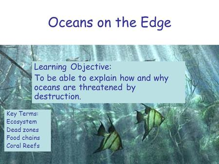 Oceans on the Edge Learning Objective: To be able to explain how and why oceans are threatened by destruction. Key Terms: Ecosystem Dead zones Food chains.