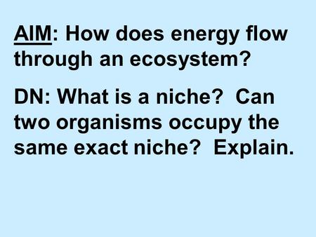 AIM: How does energy flow through an ecosystem? DN: What is a niche? Can two organisms occupy the same exact niche? Explain.