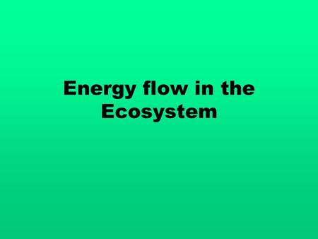 Energy flow in the Ecosystem. Energy 1 st law of thermodynamics – energy can not be created or destroyed, only transformed from one form to another.