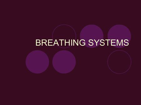 BREATHING SYSTEMS. BREATHING VS. NONREBREATHING SYSTEMS RE-BREATHING Also known as a circle system Exhaled gases are re-circulated back to the patient.
