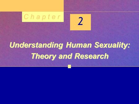 C h a p t e r 2 Understanding Human Sexuality: Theory and Research.