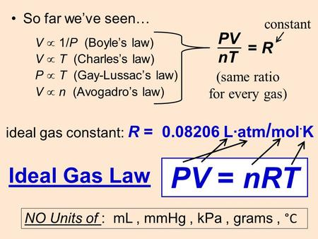 V  1/P (Boyle's law) V  T (Charles's law) P  T (Gay-Lussac's law) V  n (Avogadro's law) So far we've seen… PV nT = R ideal gas constant: R = 0.08206.