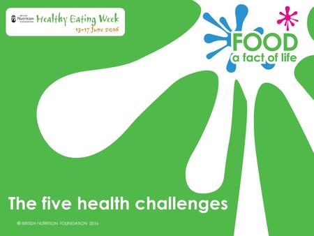 © BRITISH NUTRITION FOUNDATION 2016 The five health challenges.