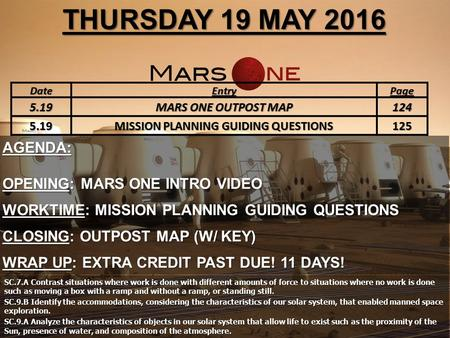 THURSDAY 19 MAY 2016 AGENDA: OPENING: MARS ONE INTRO VIDEO WORKTIME: MISSION PLANNING GUIDING QUESTIONS CLOSING: OUTPOST MAP (W/ KEY) WRAP UP: EXTRA CREDIT.