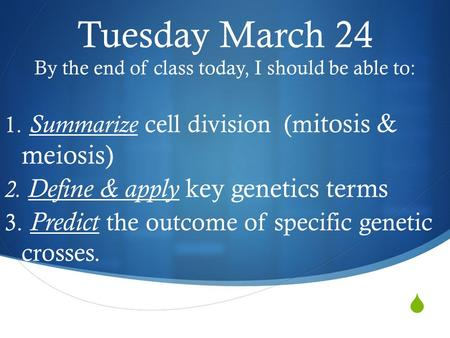  Tuesday March 24 By the end of class today, I should be able to: 1. Summarize cell division (m itosis & meiosis) 2. Define & apply key genetics terms.