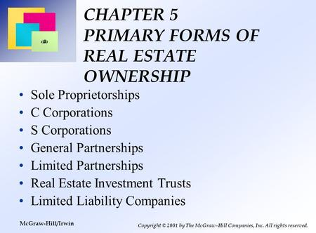 Gsd 5204 real estate development and finance prof richard for Mcgraw hill real estate