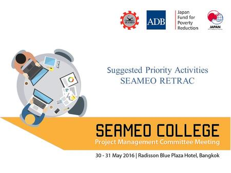 Suggested Priority Activities SEAMEO RETRAC. PRIORITY 1,2,3 Regional training to promote school leaders' competency (SEAMEO Council's recommendation 4)