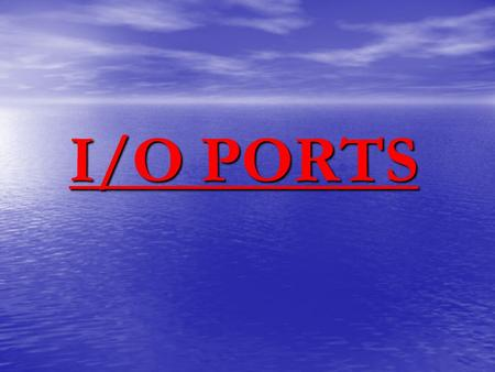 I/O PORTS. General purpose I/O pins can be considered the simplest of peripherals. They allow the PICmicro™ to monitor and control other devices. To add.