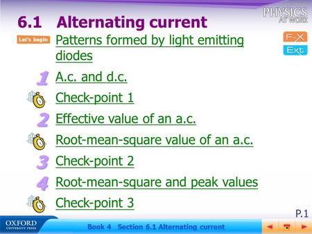 P.1 Book 4 Section 6.1 Alternating current Patterns formed by light emitting diodes A.c. and d.c. Check-point 1 Effective value of an a.c. Root-mean-square.