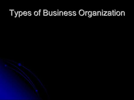 Types of Business Organization. Sole Proprietorship Business that is owned and operated by one person Business that is owned and operated by one person.