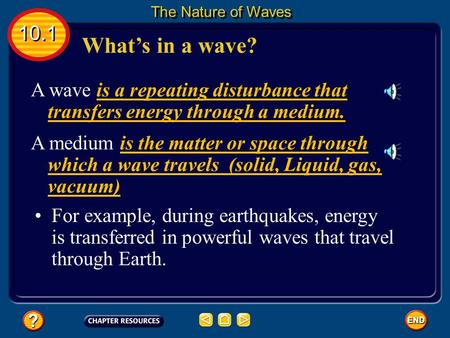 What's in a wave? A wave is a repeating disturbance that transfers energy through a medium. A medium is the matter or space through which a wave travels.