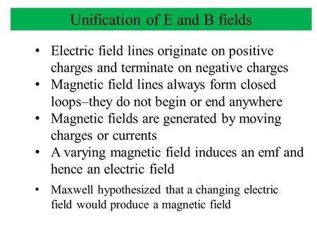 Electric field lines originate on positive charges and terminate on negative charges Magnetic field lines always form closed loops–they do not begin or.