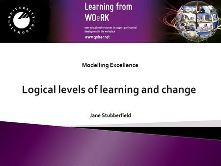 Jane Stubberfield Modelling Excellence. By the end of this session you will be able to:  Identify the logical levels of learning and change  Assess.