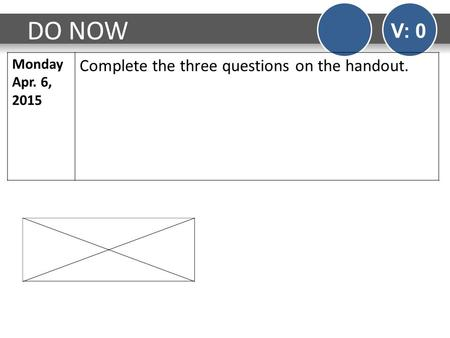 DO NOW V: 0 Monday Apr. 6, 2015 Complete the three questions on the handout.