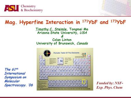 The 61 th International Symposium on Molecular Spectroscopy. '06 Funded by: NSF- Exp. Phys. Chem Mag. Hyperfine Interaction in 171 YbF and 173 YbF Timothy.