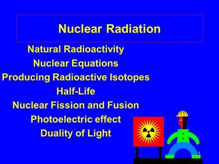 1 Nuclear Radiation Natural Radioactivity Nuclear Equations Producing Radioactive Isotopes Half-Life Nuclear Fission and Fusion Photoelectric effect Duality.