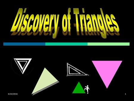 6/22/20161 2 Types of Triangles  Types by Length Equilateral Isosceles Scalene  Types by Angle Equilateral Right Obtuse Acute Equilateral Right Isosceles.