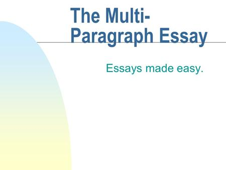 The Multi- Paragraph Essay Essays made easy.. Introduction u Hello, this lesson will walk you through the multi-paragraph essay step-by-step.