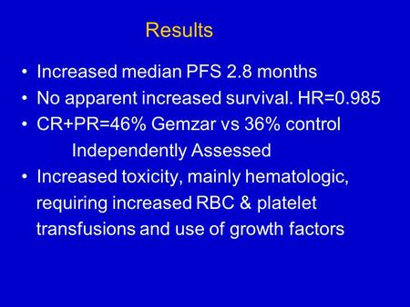 Results Increased median PFS 2.8 months No apparent increased survival. HR=0.985 CR+PR=46% Gemzar vs 36% control Independently Assessed Increased toxicity,
