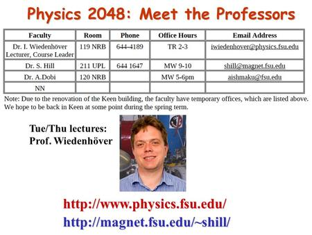 Physics 2048: Meet the Professors Tue/Thu lectures: Prof. Wiedenhöver