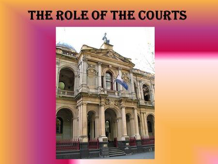 The Role of the Courts. What is Common Law? Common Law is law developed through the courts. Also known as Judge-made law and case law. It is created when.