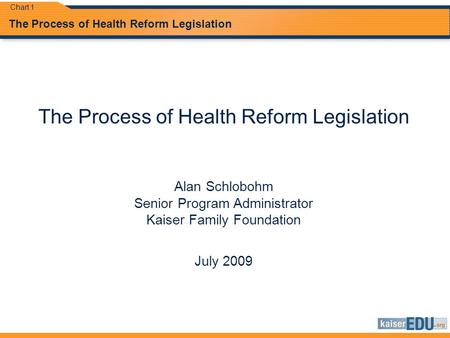 The Process of Health Reform Legislation Alan Schlobohm Senior Program Administrator Kaiser Family Foundation July 2009 Chart 1.