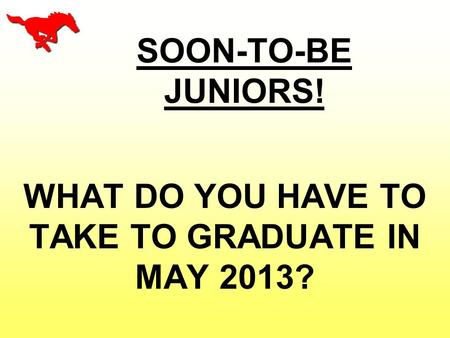 SOON-TO-BE JUNIORS! WHAT DO YOU HAVE TO TAKE TO GRADUATE IN MAY 2013?