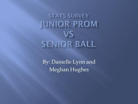 By: Danielle Lynn and Meghan Hughes.  We were trying to find out which was more popular; Junior Prom or Senior Ball, and whether the girls or the guys.