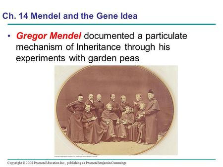 Gregor Mendel documented a particulate mechanism of Inheritance through his experiments with garden peas Copyright © 2008 Pearson Education Inc., publishing.