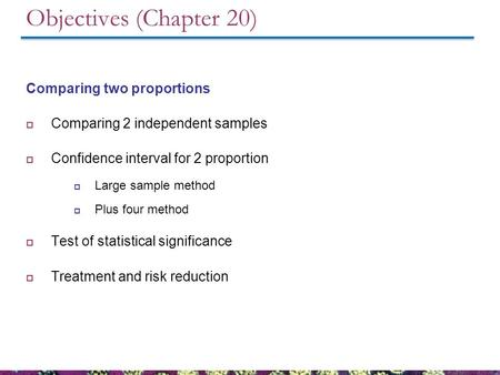 Objectives (Chapter 20) Comparing two proportions  Comparing 2 independent samples  Confidence interval for 2 proportion  Large sample method  Plus.