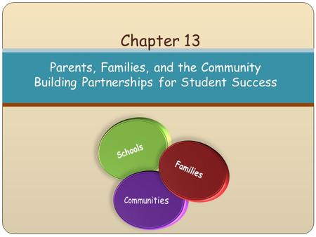 Chapter 13 Parents, Families, and the Community Building Partnerships for Student Success.