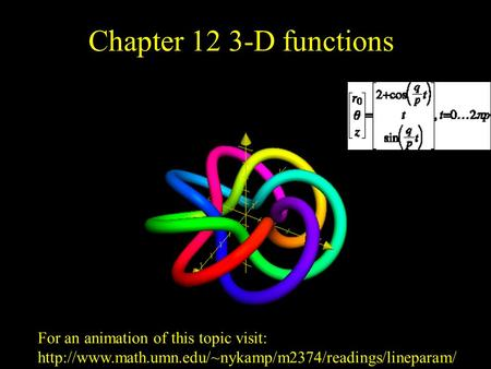 Chapter 12 3-D functions For an animation of this topic visit: