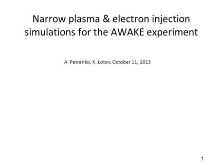 Narrow plasma & electron injection simulations for the AWAKE experiment A. Petrenko, K. Lotov, October 11, 2013 1.