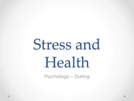 stress and health essay Life is full of frustrations, deadlines, and demands unfortunately stress can be an outcome of all of those things stress can be defined as a change that.