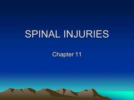 SPINAL INJURIES Chapter 11. Anatomy of the Spine Coccyx = tailbone, 3-5 fused vertebrae Sacrum = tailbone area, 5 fused vertebrae Lumbar = lower spine,