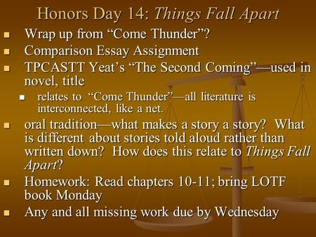 "Honors Day 14: Things Fall Apart Wrap up from ""Come Thunder""? Wrap up from ""Come Thunder""? Comparison Essay Assignment Comparison Essay Assignment TPCASTT."