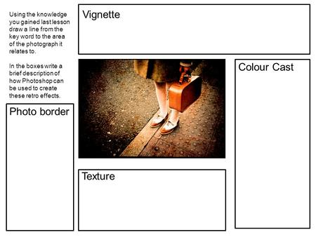 Vignette Colour Cast Photo border Texture Using the knowledge you gained last lesson draw a line from the key word to the area of the photograph it relates.