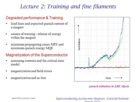 Martin Wilson Lecture 2 slide1 Superconducting Accelerator Magnets: Cockroft Institute March 2010 Lecture 2: Training and fine filaments Degraded performance.