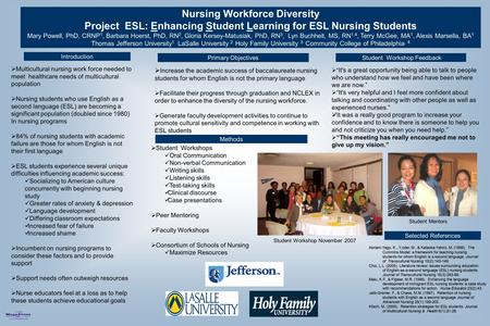 Printed by www.postersession.com Nursing Workforce Diversity Project ESL: Enhancing Student Learning for ESL Nursing Students Mary Powell, PhD, CRNP 1,
